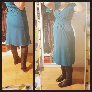 Le premier jet de robe Amber : le joli détail de la culotte sous le tissu trop serré et les plis qui tirent vers l'arrière ! (Ouh la belle photo dans le miroir !)