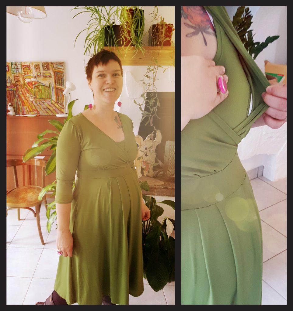 La robe verte en lycra toute douce, toute fluide ! Tellement agréable à porter !